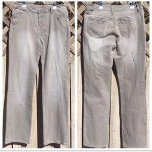 Chico's Platinum Denim Light Gray Jeans 10 Tall